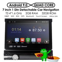 Universal 7 Inch 1080P Single Din Retractable Android 9.0 Car DVD Player Digital Touch Screen Media 2GB+32GB USB RDS