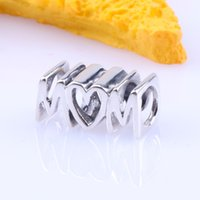 2019 Mother's Day 925 Sterling Silver Jewelry Mom Script Charm Beads Fits Pandora Bracelets Necklace For Women DIY Making 1139 T2