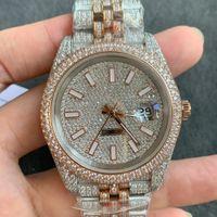Full Diamond Mens Watch Automatic Mechanical Watches 41mm With Diamond-studded Steel 904L Ladiy Wristwatches Rose Gold Bracelet Montre de Lu