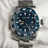 Наручные часы 43mm Bliger GMT Стерильные мужские часы Синий циферблат Sapphire стекла дата керамические рамки автоматические часы