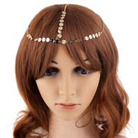 Hair Clips & Barrettes Fashion Circle Sequin Head Chain For Women Gold Color Metal Band 2021 Decoration Elegant Wedding Accessories Jewelry