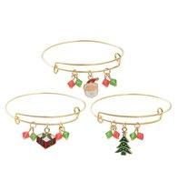 Gioielli fatti a mano all'ingrosso Braccialetto di Natale Charms per le donne Ragazze Thanksgiving Bell Bell Santa regolabile Braccialetto in cristallo espandibile