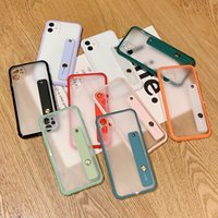 Matte Translucent Wristband Cell Phone Cases for iPhone 6 7 8 Plus XS XR 11 Pro Max 12 Mini 13 Sam S20 S21 FE Note 20 Ultra A32 A52 5G Xiaomi Mi 10 Huawei P40 Mate 30 Back Covers