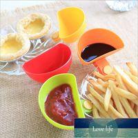 Plástico clip taza tazón 4pcs multicolor ketchup mojado vajilla salsa de tomate azúcar plato ensalada salsa platillo