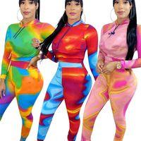 Designer Women Tracksuits Tie Dye Sportswear Two Piece Set Long Sleeve Hoodies+Leggings Yoga Sports Suits S-2XL Slim Joggers Crop Tops Letter Print Sweatsuits 3996