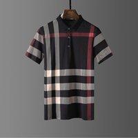 2021SS 100 % 코튼 망 폴로스 셔츠 5 순수한 컬러 폴로 정밀 자수 공예 TB 문자 셔츠 스트라이프 10 스타일 크기 M-XXXL