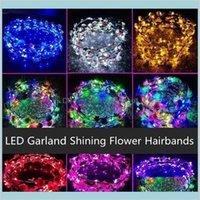LED Lumineux Hiarbands Couronnes Glow Flower Crown Enfants Vilage Garland Jouets Head Accessoires pour Night Night Market de mariage B WTR9D