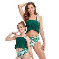 높은 허리 두 조각 부모 - 자식 수영복을 밀어서 어머니 딸 수영복을 푸시 여자 가족 일치하는 옷 어린이 비키니 원피스 su
