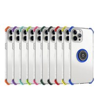 Transparent TPU Cases Rings Holder Clear Cover Airbags Shockproof With Car magnetic for iPhone13 12 pro max 11 XR XS 8 SamsungS21 S20 FE Ultra plus A20S A10s A11 A02 A21s