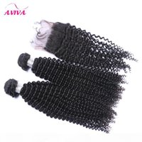 4Pcs Lot Indian Kinky Curly Virgin Hair With Closure Raw Indian Virgin Remy Human Hair Weave Bundles With Top Lace Closures Double Wefts