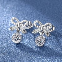 Stud High Quality Cubic Zirconia Women S925 Bow Earrings Stylish Girl Accessories Party Daily Wearable Fashion Jewelry Drop Ship