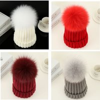 Designer Plain Rib Beanies With Removable Real Fox Fur Pom Ball Knitted Acrylic Winter Warmer Hats 3 Sizes For Baby Kids Adults Slouchy Mens Womens Children Snow Cap