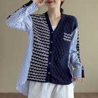 Women's Knits & Tees Fashion Patchwork Striped Knitted Sweater Women Long Sleeve Tops Loose Causal Oversized Sweaters Cardigan Clothes Autum