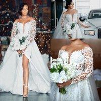 Designer Long Sleeves Wedding Dresses Bridal Gown with Overskirt Off the Shoulder Side Slit Tulle Beaded Lace Applique Pearls Custom Made Plus Size vestidos de novia