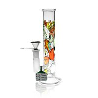 D&K 195mm 7.68 inches tall straight type glass bong hookah and metal joint water pipe for smoking