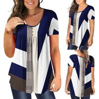 Women's Blouses & Shirts Plus Size Women Summer Patchwork O-neck For Ladies Short Sleeve Blouse Blusas Mujer De Moda 2021