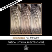 """Nail U Tip Keratin Pre Bonded Real Remy Hu Hair On Capsule Highlights Piano Color 0.8g strand 16 18 20 22"""" 40g pack"""