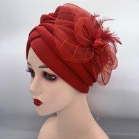 Ethnic Clothing Lastest Feather Flower Turban Bonnet For Women Muslim Headscarf Caps Wedding Party Headwear Turbante Mujer African Headtie