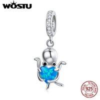 WOSTU 925 Sterling Silber Charm Schöne Krake Perle Herz Tier Anhänger Fit Original Armband Halskette Für Frauen SchmucksachenCQC1831