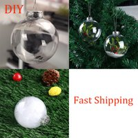 8cm Clear Christmas Balls Plastic Silver Cap Transparent Ball Xmas Tree Decoration Festival Party Hanging Ornament