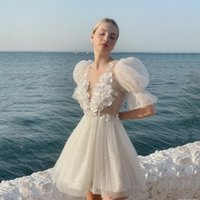 Custom Beaded Tulle Short Homecoming Dresses Sexy V Neck 3D-Applique Club Wear Cocktail Party Gowns Half Sleeves Backless Gradaution A Line Prom Vestidos