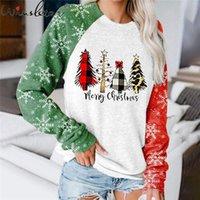 Женские толстовки толстовки Рождественская толстовка пуловер женский цвет блокировки раглан рукав печать дерево снежинки осень зима одежда топы т