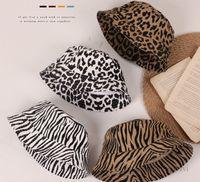 Girls leopard hats kids tree grain flat Fisherman caps boys big brim pot hat children outdoor travel beach visor cap Q2195
