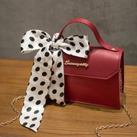 2021 new Pu ribbon bag women's portable Hands small square silk scarf chain one shoulder slanting mobile phoneCU4Y