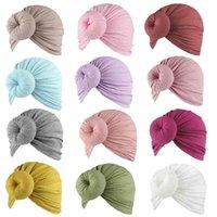 Newborn Baby младенческий лук узлы Turban Hats сплошные цвета пончик головы обертывания мягкие хлопчатобумажные повязки ручной работы шапочки шапки широкие волосы волосы для волос череп головной убор