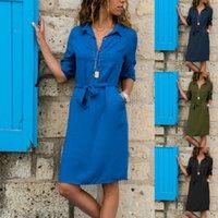 Vestidos Ilowrom Estilo Mujeres Tres Blusa Larga Moda Fashion Damas Cuello de rechazo Casual Vestidos sueltos
