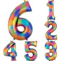40 дюймов Радуга Цвет Большой Воздушный шар Отец День Алюминиевая пленка Цифровая Воздушные шары Дня День День Рождения Свадебные Шары G34F6IM