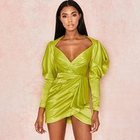 Sexy Party Dress Fashes Wrap Vestido Profundo Cuello en V Suelto Short Shirt Shirt Vestido Mujer Larga Linterna Manga Oficina Oficina Dama Vintage Satin Women