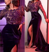 2021 New Long Sleeve Evening Dresses for Women Wear Purple Lace Yousef Aljasmi Prom Dress V-neck Split Ruched Middle East Dubai Arabic