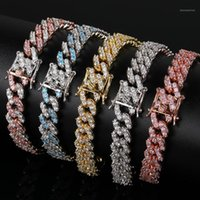 9mm Cubic Zirconial Cuban Link Bracelet Pink and White Zircon Fashion Iced Out Punk Chain Bling Bling Charms Hip HopJewelry1