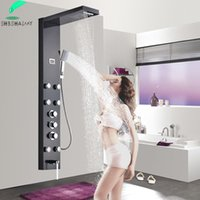 Black Thermostatic Multifunctional Shower Panel Wall Mounted Rain Waterfall Colume With Rotate Body Massage Jets Hand Bathroom Sets