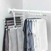 5 em 1 multi-funcional calças de armazenamento de armazenamento ajustável Calças de armazenamento Prateleira organizador de roupas de roupa de aço inoxidável CCA6736