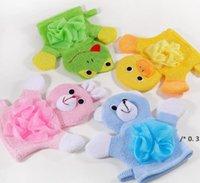 4 ألوان الحيوانات نمط الاستحمام الاستمتاع مناشف الإسفنج لطيف الأطفال استحمام الطفل حمام منشفة الاستحمام غسل القماش الجسم فرك قفاز الفاتح FWF5946