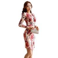Günlük Elbiseler Baskılı Elbise Kadın 2021 İlkbahar Yaz Uzun Kollu Seksi Paketi Kalça Moda Kadın V Yaka Kazak Üst IOQRCJV H768