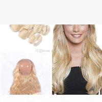 Loira Pura 613 Wews Human Wafts com 360 fecho de onda corporal pré arrancado 360 frontal com cabelo virgem cabelo cabelo 3 pacotes extensão