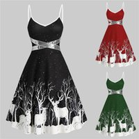 Casual Dresses Christmas Print Winter Party Sequin Patchwork Sleeveless Dress Deer Skater Club Night