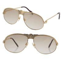 도매 판매 다이아몬드 남자 금속 선글라스 18K 골드 빈티지 여성 안경 유니섹스 1112613 작은 큰 돌 C 장식 구동 안경에 대 한