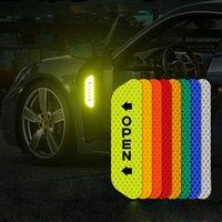 4pcs / 세트 형광등 반사 스트립 경고 스티커 문 열림 리플렉션 자동차 액세서리 부품 모든 차 6 색