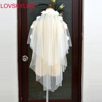 Bridal Veils White Ivory 2 Layers Veil Beautiful Flowers Appliqued Design Cathedral Short Wedding Cut Edge With Comb Bride