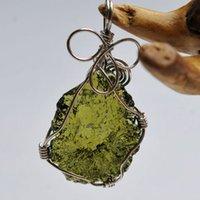 Ciondolo naturale Moldavite Green per Crystal Energy Stone Men E Donne Collana Collana Collana Fine Gioielli LJ201016 7x4L