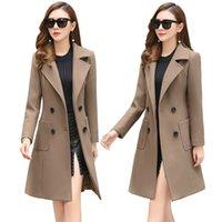 Yeni Sonbahar Kış Yün Kadın Ceket Kaban Yüksek Kalite Uzun İnce Karışımı Giyim Kadın Bayanlar Yün Palto Ceket Palto 200930