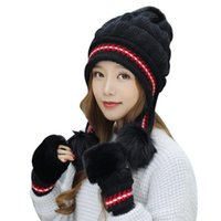 Hats, Scarves & Gloves Sets Fashion Women Knitted Hat Set Xmas Warming Beanie Full Cover Glove Kit For Winter TC21