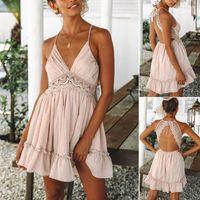 Casual Dresses 2021 Women Party Lace Flower Backless Mini Dress Summer Sexy Sling Spaghetti Straps Deep V Neck Wedding Club Vestido