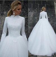 2022 Ball Gown Wedding Dresses Long Sleeves Lace Applique Tulle Sweep Train High Neck Custom Made vestido de novia Plus Size Castle Bride