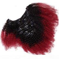 Afro Kinky Curly Ombre Clip In Human Hair Extensions für Schwarze Frauen T1b Rot Zwei Ton Peruanisches Reines Haar Clip Ins 7 stücke 100g