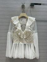 Milan Runway Shirts 2021 Long Sleeve Panelled V Neck Designer Blouses Brand Same Style Women's 0317-10